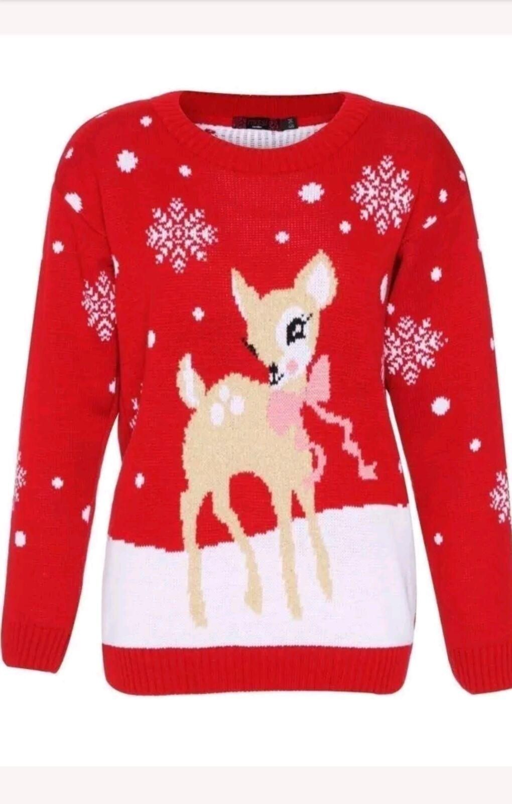 c97ae805eb9 Vánoční svetr Bambi červený