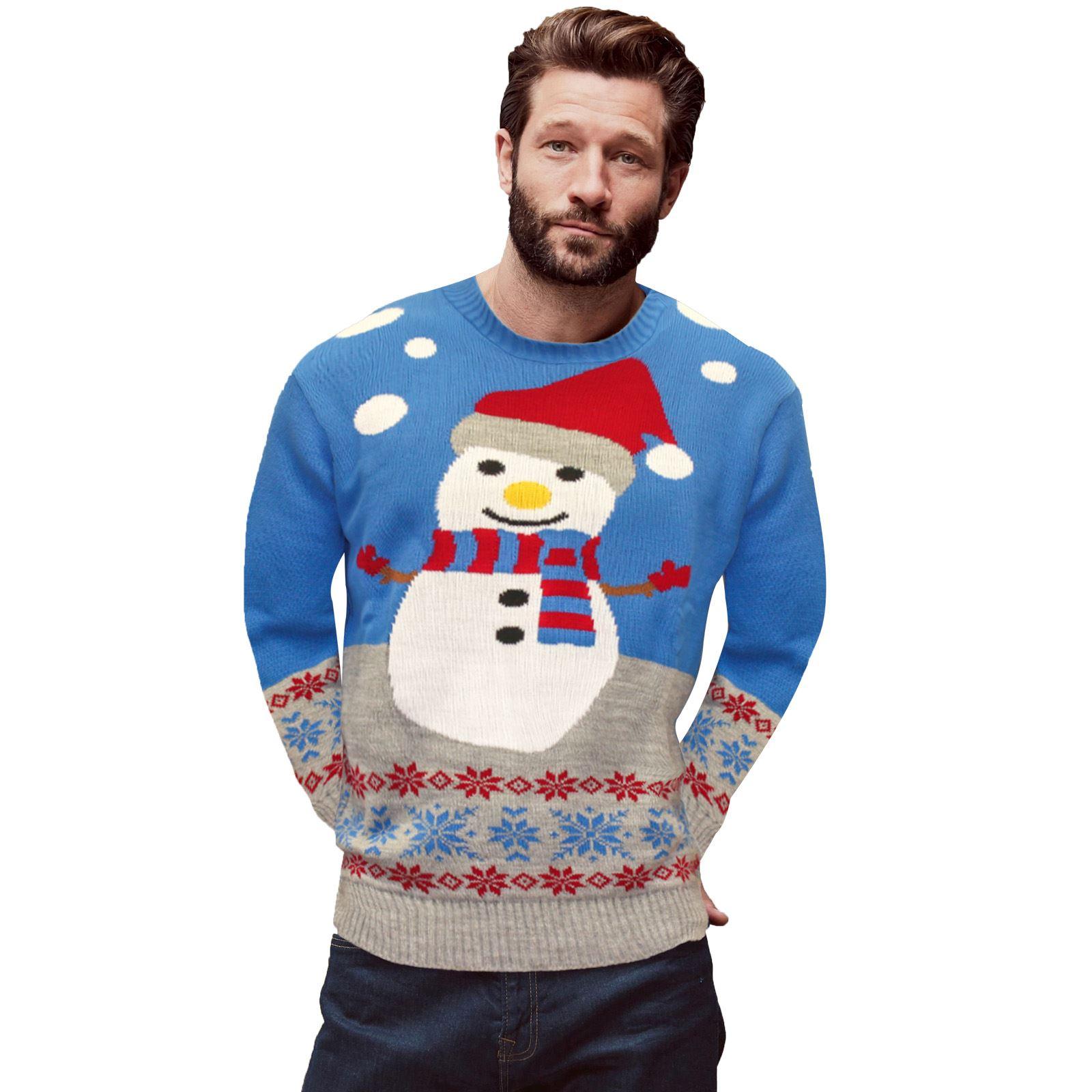 c0aad66cb3f Vánoční svetr Sněhulák modrý