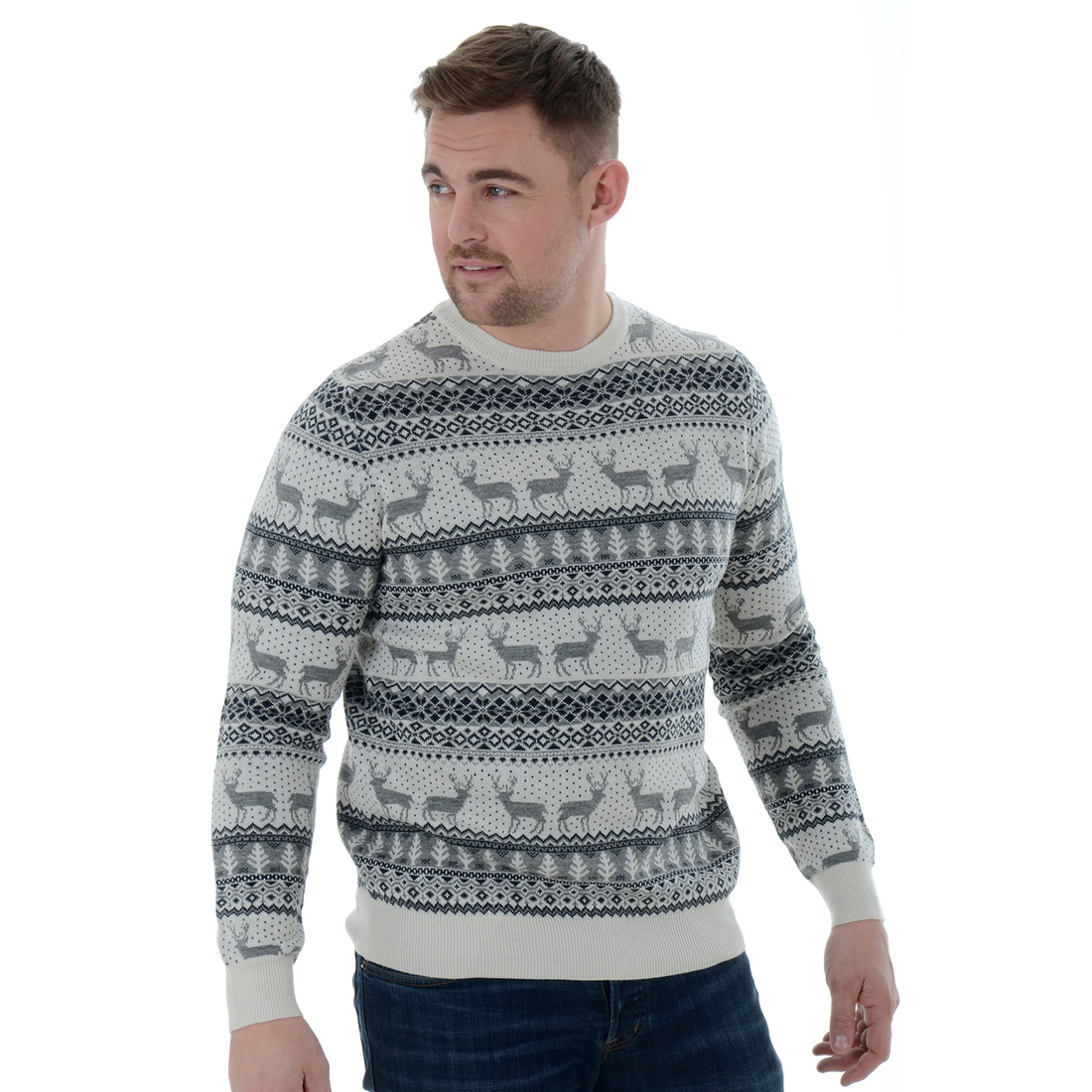 Vánoční svetr s norským vzorem šedý 3fb1a07d0b