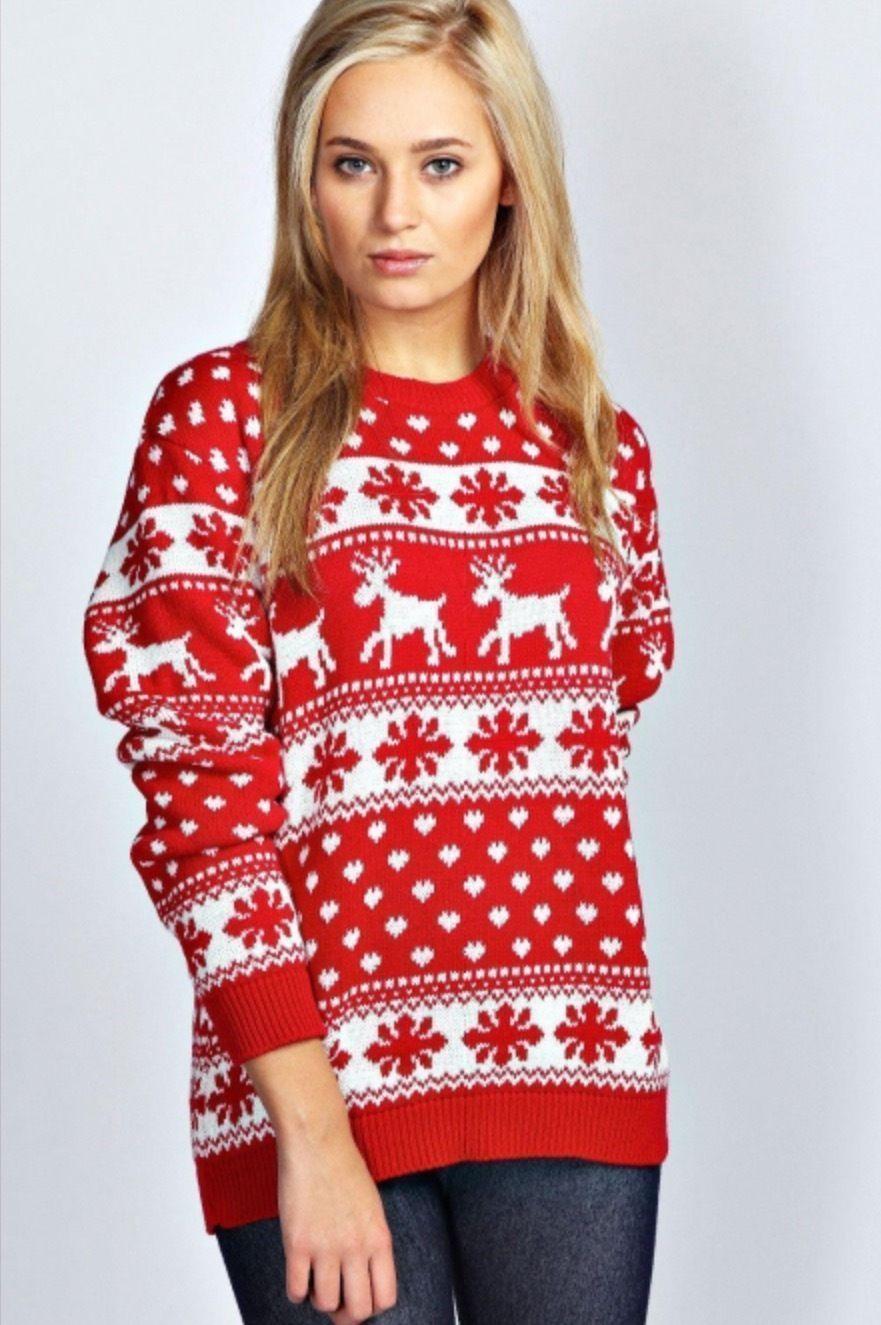 Vánoční svetr Srdíčka červený empty f96225dd36