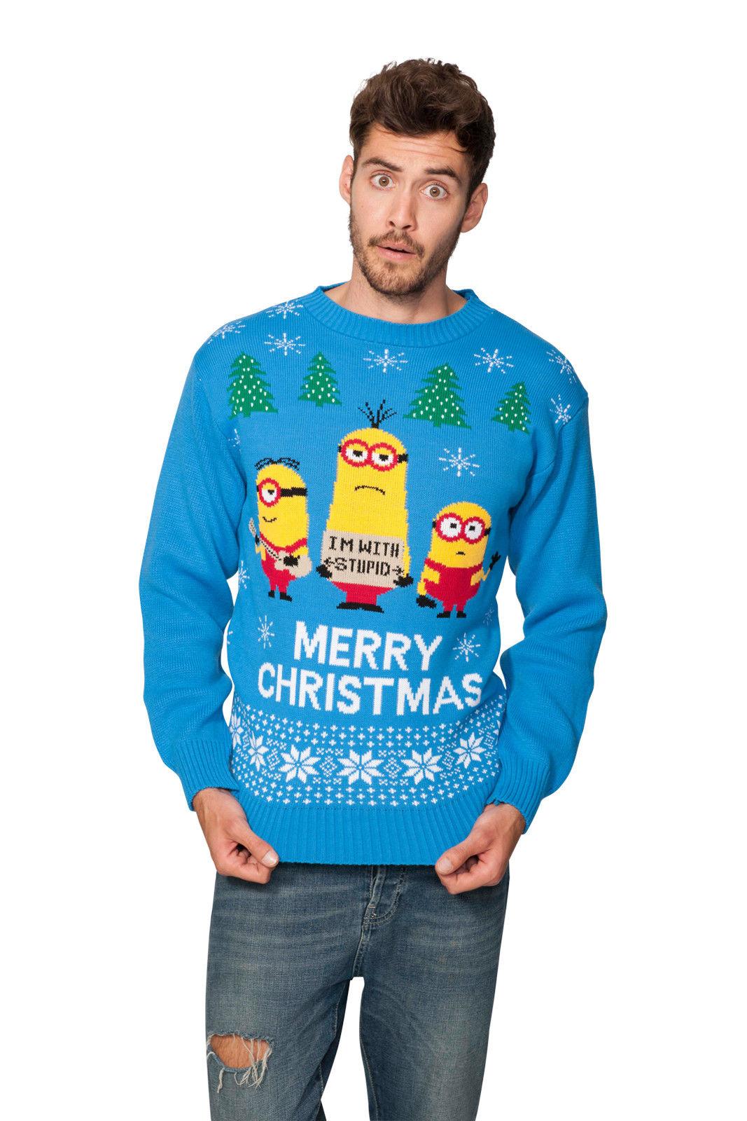 Mimoni vánoční svetr modrý empty 8430b3a376