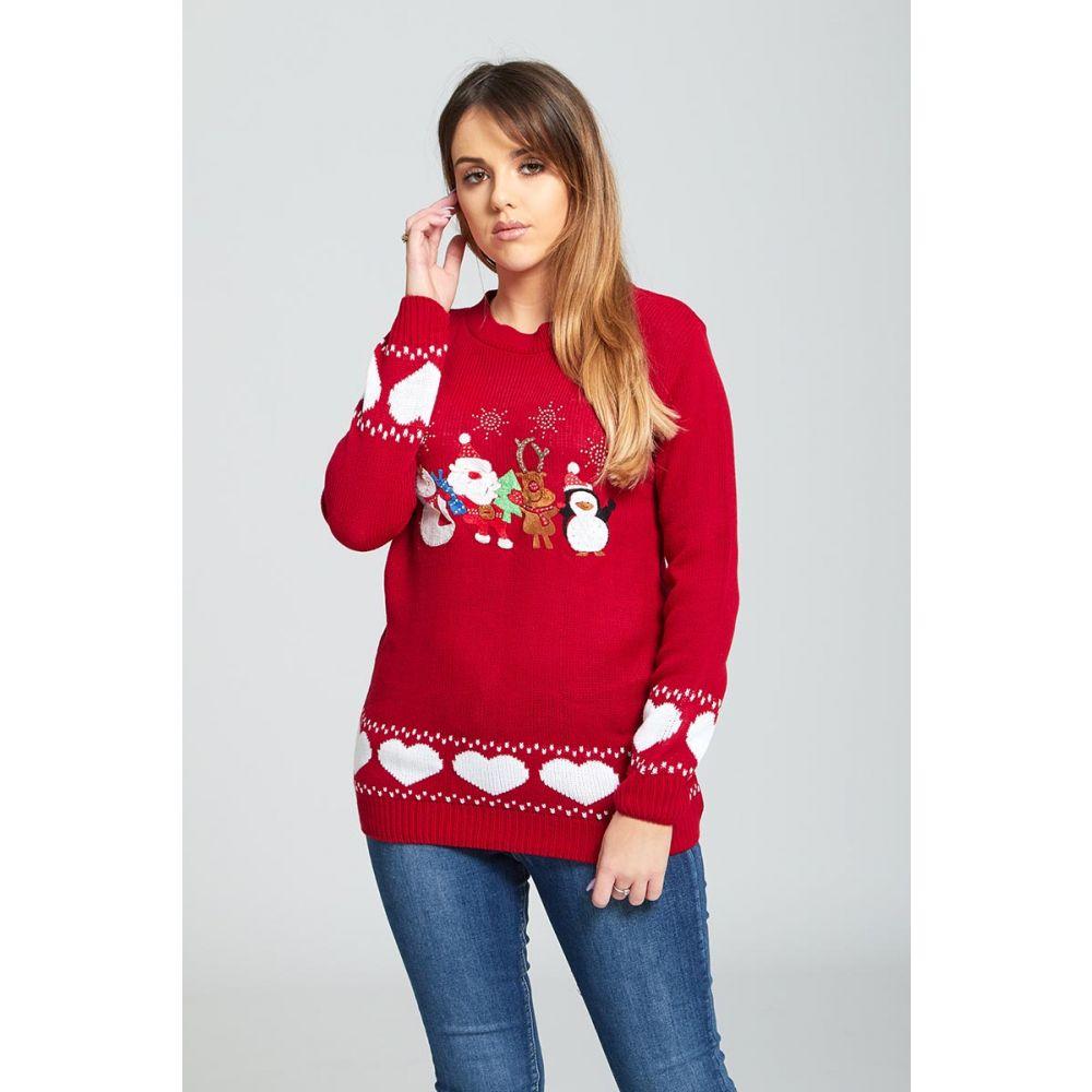 51f6ffed3d4 Dámský vánoční svetr s aplikací červený empty